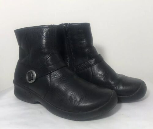 KEEN BERN Ankle Boots Booties Black Leather Waterp