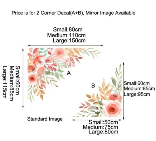 Corner Flower Branch Peach Blossom Wall Stickers Kids Nursery Decor Decal Gift