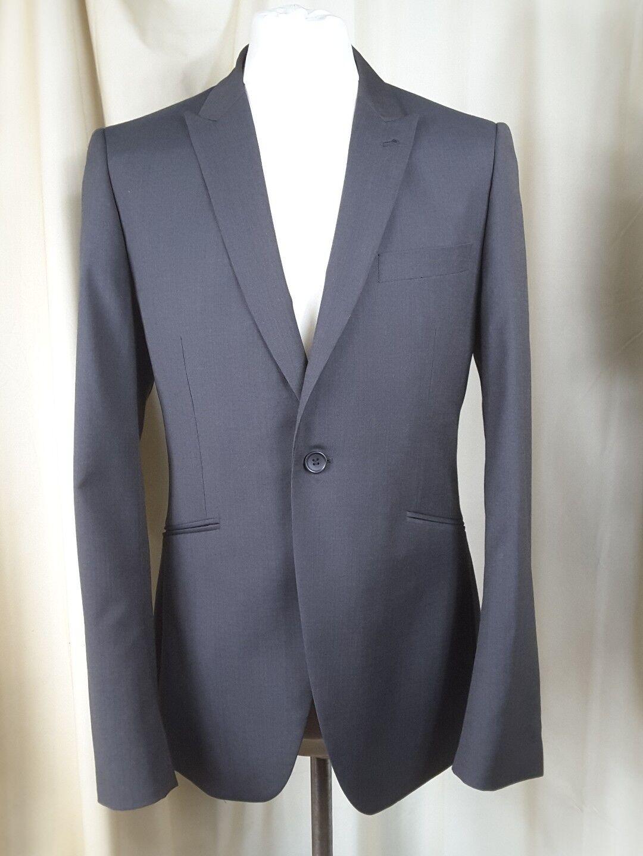 Topman Dot Pattern Grau Wool Mix Slim Fit One Button Suit C40 W36 L32