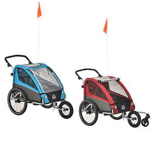 HOMCOM 3 in 1 Kinderanhänger Jogger Fahrradanhänger für 2 Kinder Alu