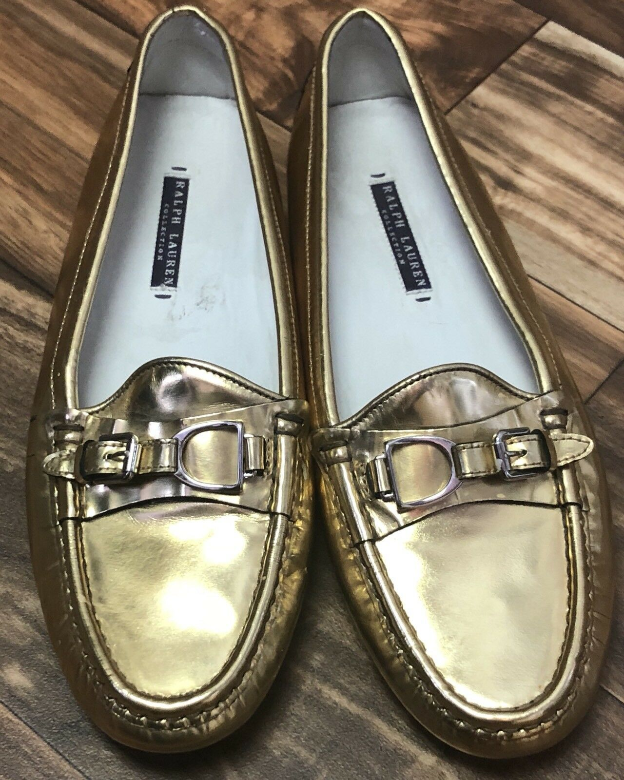 shopping online di moda Ralph Lauren Lauren Lauren Collection viola Label donna 9.5 oro Driver Mocassins Loafers  marca