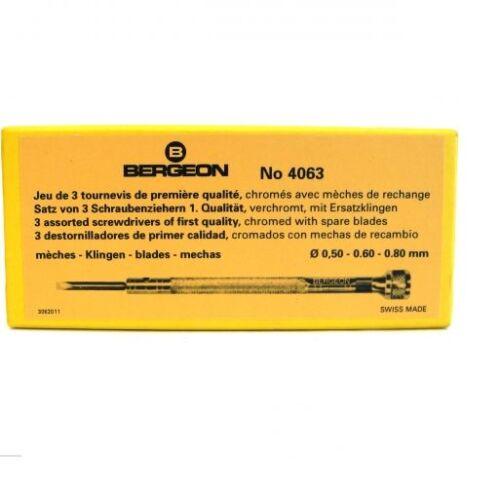 Bergeon 4063 Set Of 3 Watchmakers Screwdrivers Chromium Plated BNIB HS4063