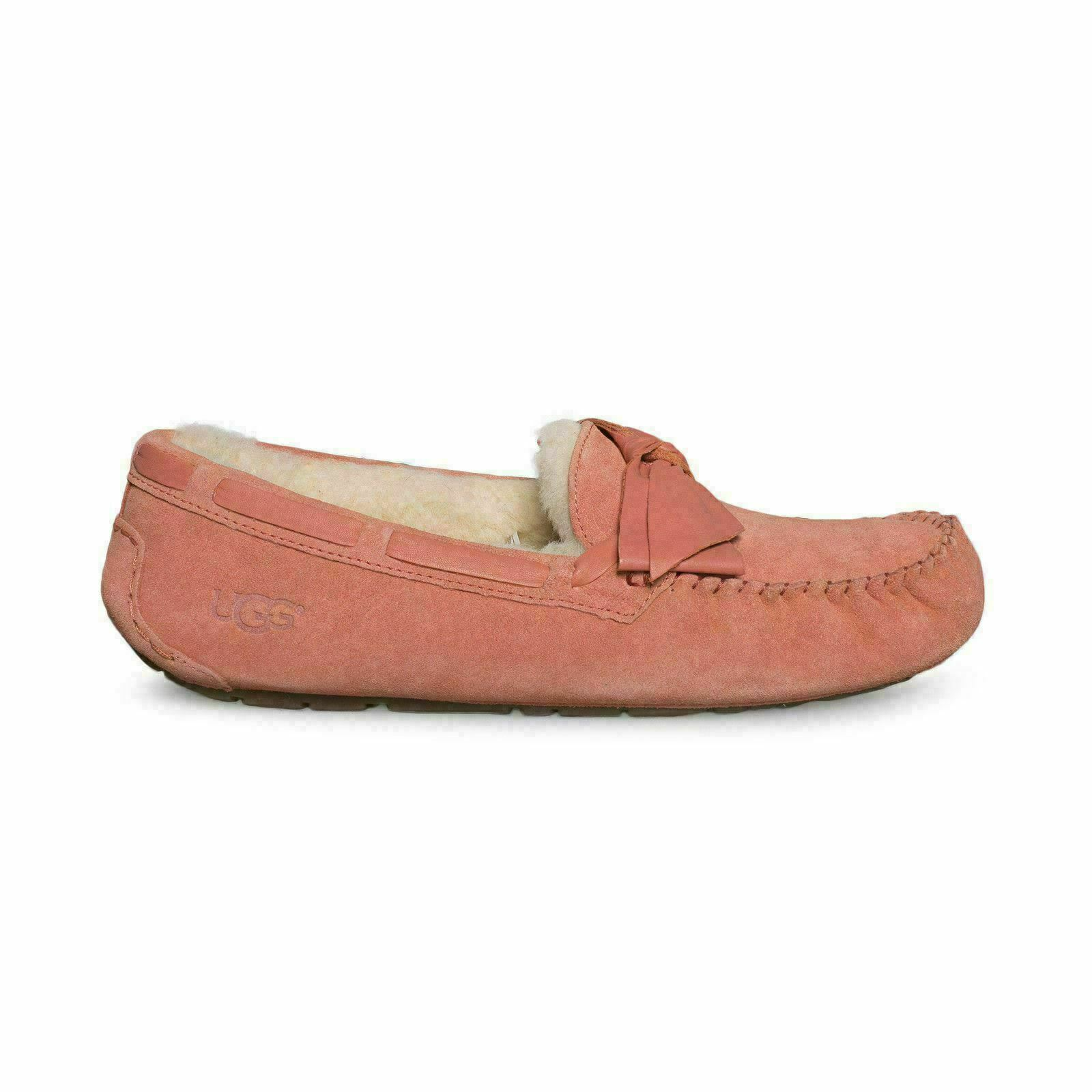 e2468827af4 UGG DAKOTA LEATHER BOW VIBRANT CORAL MOCCASIN WOMEN'S SLIPPERS SIZE US 12  NEW