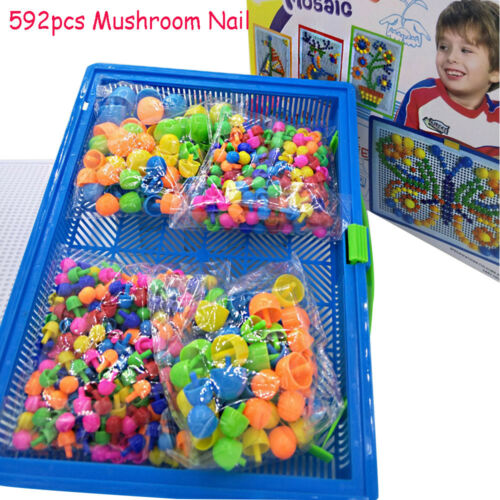 Educational Kids Gift Peg Board Mushroom Nail Kit Puzzle Toy Mosaic Picture