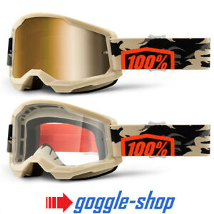 100/% STRATA 2 MOTOCROSS MX BIKE MTB GOGGLES BLACK CLEAR MIRROR LENS