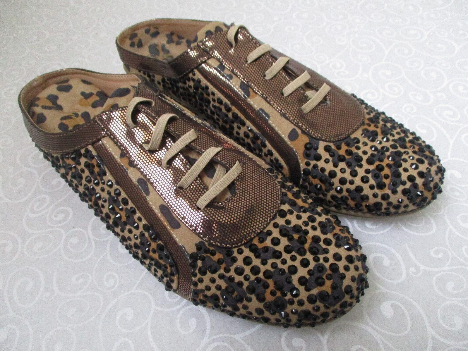 89 JOAN BLACK BOYCE BLACK JOAN & BROWN RHINESTONE SLIDES Schuhe SIZE 9 W - NEW 2b9183