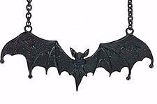 """5"""" Large Black Gothic Vampire Bat Necklace Dracula Punk Grunge Jewelry Pendant"""