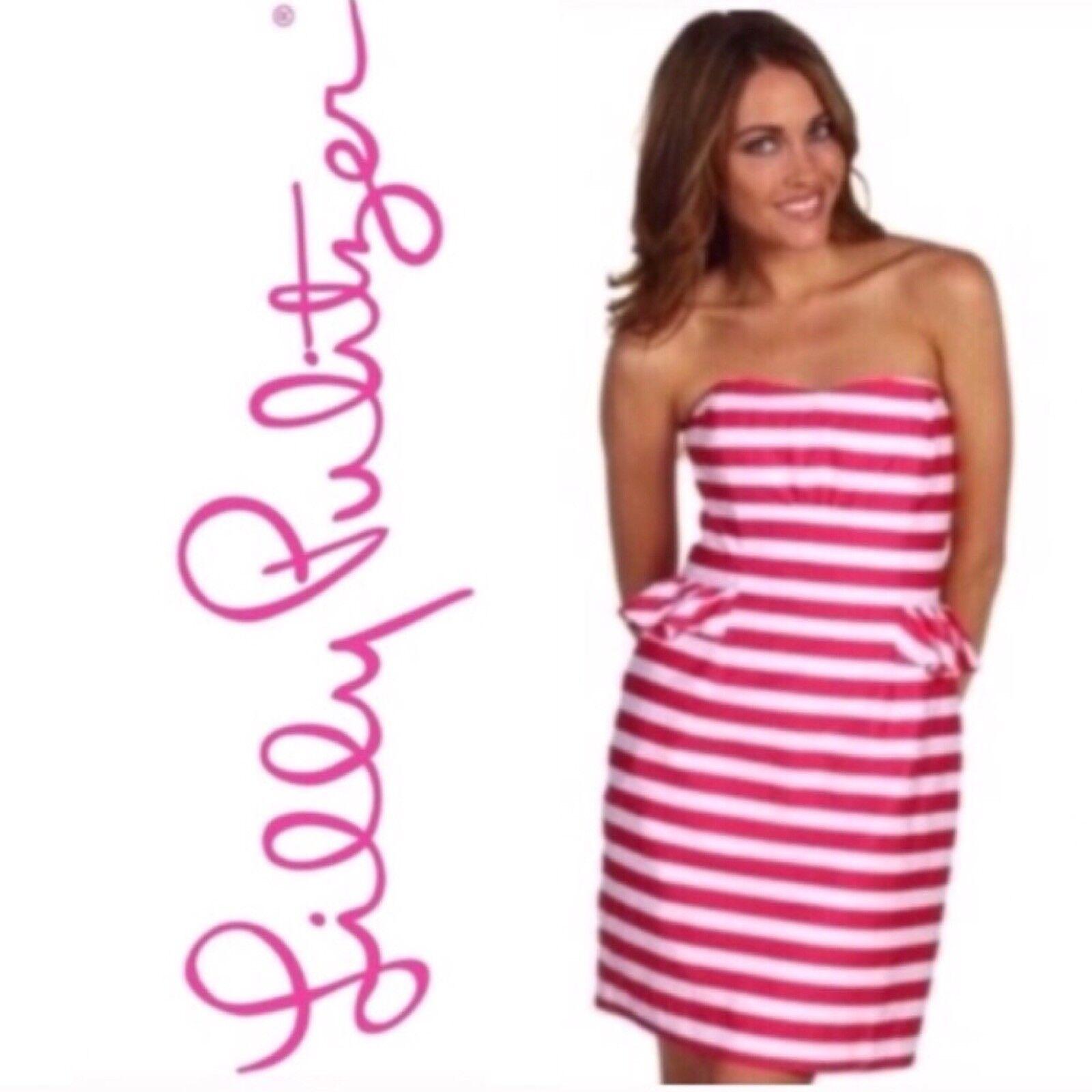 NEW Lilly Pulitzer Peplum Striped Strapless Mini Dress Size Size Size 0 Pink White f108fa