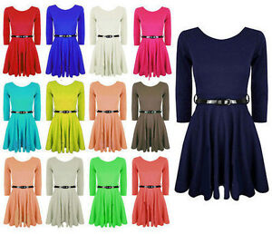 New-Women-Belted-Short-Sleeve-Ladies-Flared-Franki-Party-Skater-Dress-Top-8-24
