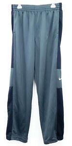 Nuovo-Nike-Uomo-Grigio-amp-Nero-Basket-Leggero-Workout-Drifit-Pantaloni-Taglia-L