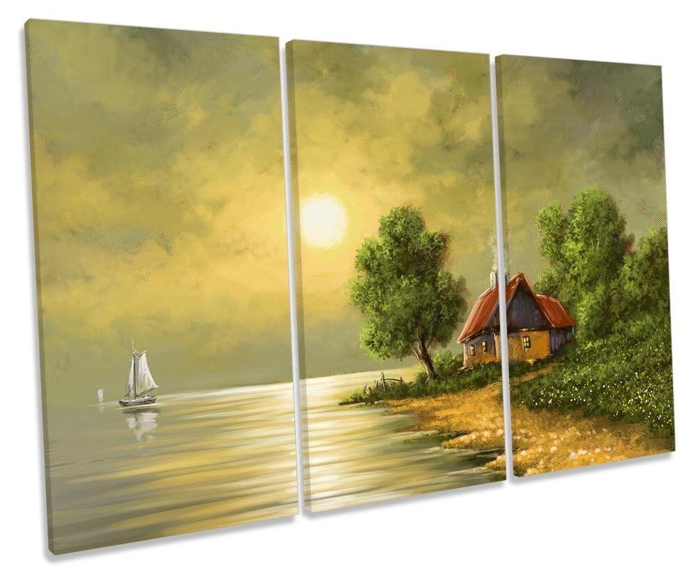 Barca tramonto paesaggio verde verde verde incorniciato Treble stampa art. a muro 3675dc
