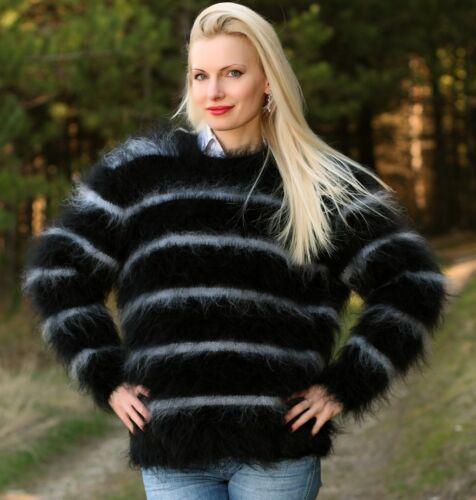 Hånd Strikket Stripet Fuzzy Sort Mohair Top Grå Jumper Sweater Supertanya TqZx44apR