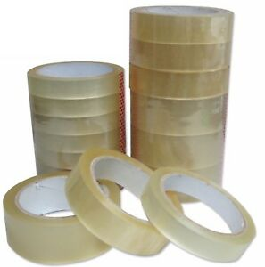 """CLEAR TAPE STRONG BIG ROLLS PACKAGING PARCEL PACKING SELLOTAPE 1"""" 24mm x50m"""