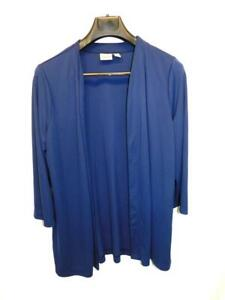 Chico-039-s-Easywear-2-L-Dark-Blue-Knit-Cardigan-Shirt-Open-Front-3-4-Sleeve-Tunic