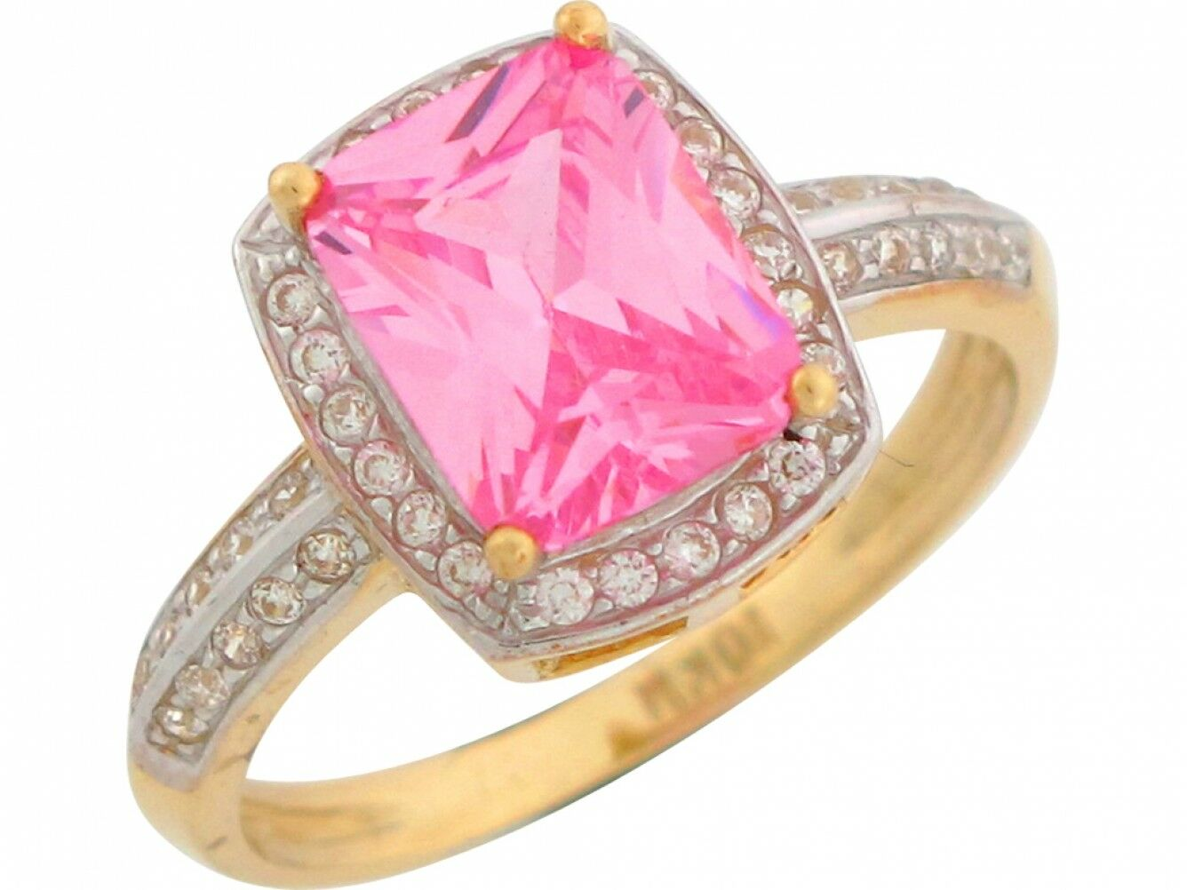 10k or 14k Two Tone gold Pink & White CZ October Birthstone Halo Ladies Ring