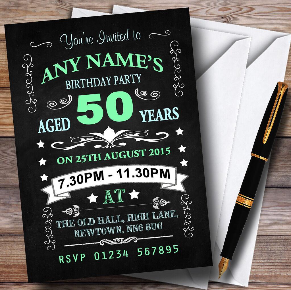 Tableau vert et bleu bleu et 50e anniversaire party invitations personnalisées dd5e8c