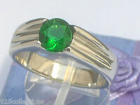 7 Mm 2.30 Ct. 316 Stainless Steel Solitaire May Green Emerald Men Ring Size 5-13