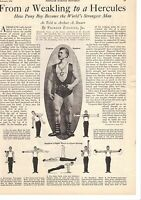 Feb 1926 Magazine Page Copies- Eugene Sandow, From A Weakling To A Hercules