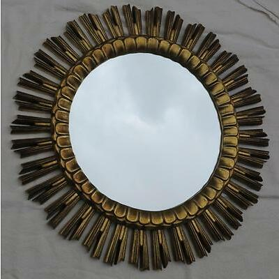 Miroir doré soleil résine 61 cm