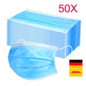 50 Stück Mundschutz 3-lagig 50x Einweg Atemschutzmask