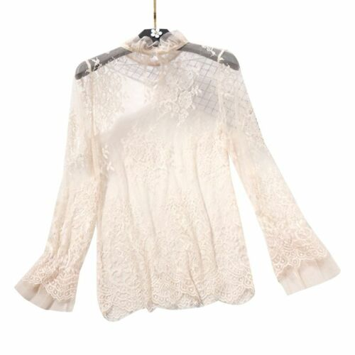 Long Flare Sleeve Sheer Mesh Blouse Hollow Lace Shirt Cover Up Ruffles Neck Top