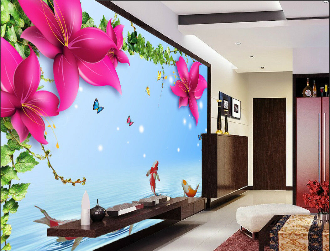3D Flower Leaves Pond 845 Wallpaper Mural Paper Wall Print Wallpaper Murals UK