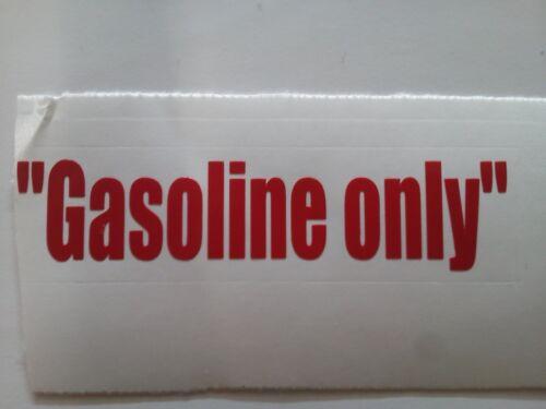Gasoline only sticker decal