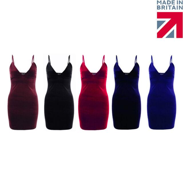 Ladies Womans Velvet Plunge V Neck Mini stretch Party Dress