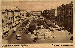 Alexandria-al-Iskandariyya-Agypten-Egypt-AK-1930-Mohamed-Aly-Square-Platz-Autos