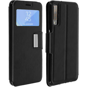 Custodia-FLIP-FINESTRA-Smart-View-Slim-Case-per-Samsung-Galaxy-A7-2018-Nero