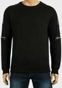 Mens-Sweatshirt-Zip-Detail-black-pull-over-full-sleeve-BNWT-size-S-M-L