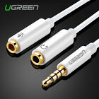 Ugreen 3.5mm Male to 2 Female Headphone Mic Y Splitter Stereo Audio Cable Cord