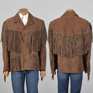 Large-1970s-Mens-Schott-Split-Hide-Suede-Jacket-Leather-VTG-Brown-Fringed-Coat