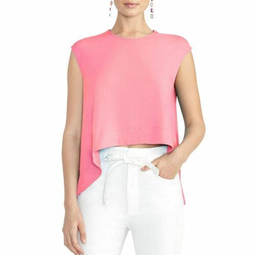 RACHEL ROY NEW Women/'s Pink Asymmetrical Crew Neck Crop Casual Shirt Top TEDO