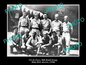OLD-POSTCARD-SIZE-PHOTO-OF-US-AIR-FORCE-90th-BOMB-GROUP-MOBY-DICK-CREW-1940s