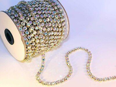 Strassband Kristall Gold mit Crystal Brillantschliff SS12 3mm 1 Meter Strass