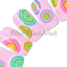 Nail Art Water Decals Transfers Stickers Wraps Decals Rainbow Circles Spots Y108