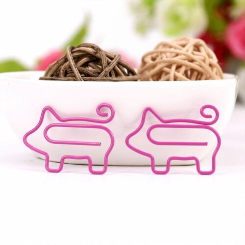 10pcs Cartoon Pig Animal Pink Bookmark Paper Clip Metal Clips Office Supplies