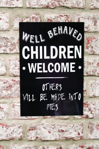 Bien se comporter enfants Bienvenue Métal Signe Avis Fun Plaque Pub Restaurant Maison