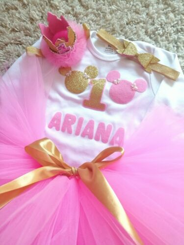 Girls First 1st Birthday Tutu Skirt Outfit Cake Smash Minnie Mouse Personalised
