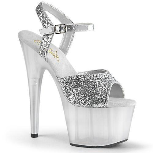 "7/"" Brown Bronze Glitter Clear Pole Dancer Stripper Shoes Heels Pleaser Adore"