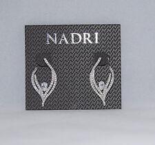Nadri Silver Tone clear crystal drop Earrings NWT $70
