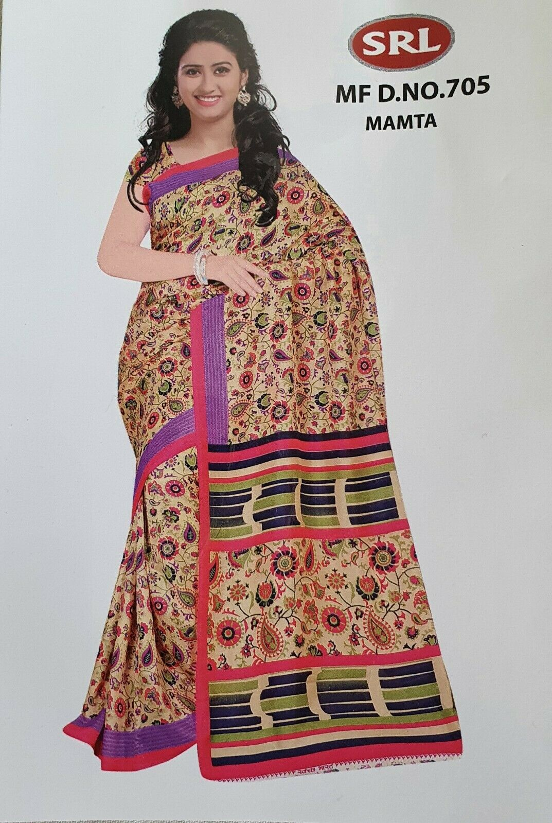 Floral Printed Polyester multicolour bollywood pakistani wash and wear Saree New