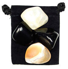 SELF CONTROL Tumbled Crystal Healing Set = 4 Stones + Pouch + Description Card