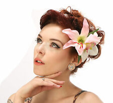 Rockabilly 50s Pin up Pink White double orchid lily hair flower clip