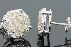 .36 CARAT WHITE GOLD FINISH MENS WOMENS 11mm 100% REAL DIAMONDS EARRINGS STUDS