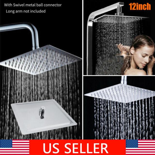 12/'/' Square Stainless Steel Rain Shower Head Rainfall Bathroom Top Sprayer US