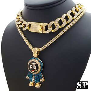 "Hip Hop Eskimo Pendant w/ 18"" Full Iced Cuban & 1 ROW DIAMOND Choker Chain Set"