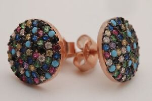 Turkish-Jewelry-Turquoise-Ruby-Sapphire-Topaz-925-Sterling-Silver-Stud-Earrings