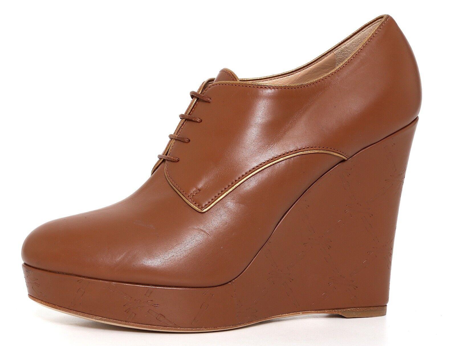 Longchamp Platform Leather Wedge Booties Brown Women Sz 40